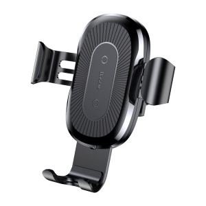BASEUS Gravity Car Air Vent Mount Qi Wireless Charging Holder for iPhone X/8/8 Plus Etc. - Black