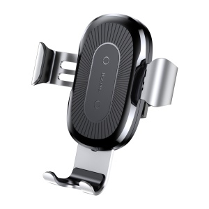BASEUS Qi Wireless Car Mount Charger Gravity Linkage Phone Holder for iPhone X/8/8 Plus Etc. - Silver Color