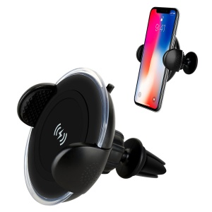 MOMAX Q.Car Qi Wireless Charging Air Vent Car Mount Smartphone Holder for iPhone Samsung - Black