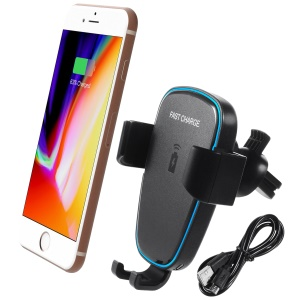 360 Degree Rotary Gravity Car Air Vent Mount Qi Wireless Charging Holder for iPhone X/8/8 Plus Etc.