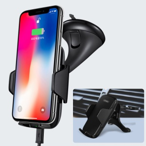 JOWAY WXC06 Qi Wireless 10W Car Charger Vehicle-mounted Charging Holder Stand for Samsung S8 / S8 Plus etc. - Black
