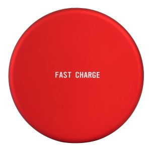 Q16 Ultra-thin Round 9V Qi Wireless Fast Charging Mat for iPhone X/8/8 Plus Etc. - Red
