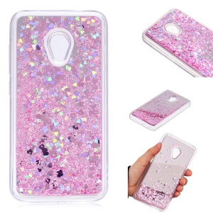 Dynamic Glitter Sequins Liquid Case Mirror Surface TPU Phone Case for Alcatel U5 (4G Version) - Pink
