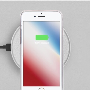 K3 Ultra-thin 10W Round Qi Wireless Fast Charger Mat for iPhone X/8/8Plus, Samsung Note 8/S8/S8 Plus - Silver