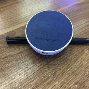 SHINECON SC-W03 Portable Ultra-thin Round 10W Qi Wireless Charger Pad for iPhone X/8/8Plus, Samsung Note 8 etc.