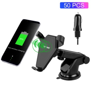 50Pcs/Set 2-in-1 10W 9V Fast Charge Qi Wireless Charging Suction Cup Stand + Car Air Vent Mount