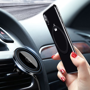 USAMS US-CD44 10W Qi Wireless Charger Car Magnetic Air Vent Mount for iPhone X / 8 / 8 Plus etc.