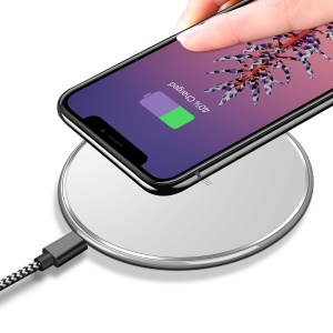 DUX DUCIS Portable 5W Round Shaped Wireless Charging Mat for iPhone X / 8 Plus / 8 Etc. - White