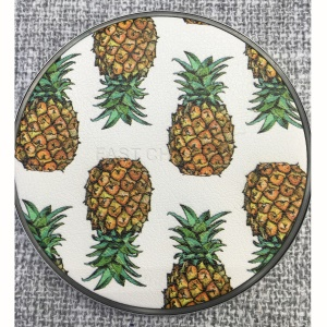 KD-7 Fruit Pattern Lightweight Leather Round Shaped 10W Wireless Charging Pat for iPhone X / 8 Plus / 8 Etc. - Pineapple