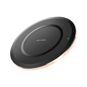 Slim Design Round Shaped Qi Wireless Fast Speed Charger Mat with Colorful LED Light for Samsung S8/S8 Plus, Note 8 Etc. - Black