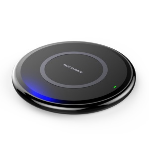 W92 Round Shaped 10W Wireless Charging Pat for iPhone X / 8 Plus / 8 Etc. - Black