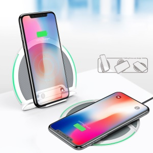 BASEUS Foldable Three Coils 10W Qi Wireless Charger Holder + Micro USB Cable for iPhone 8/8 Plus/Samsung S8 Etc - Grey