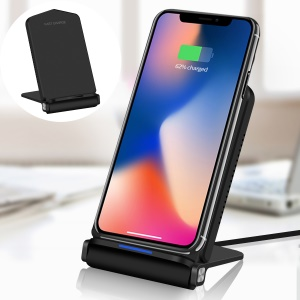 QK200 10W Dual Coil Quick Wireless Charger Pad Stand for iPhone Samsung etc - Black