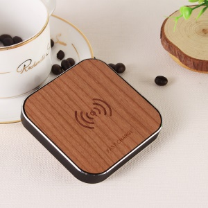 Wood Plate Qi Wireless 10W Portable Charging Pad for iPhone X/8/8 Plus, Samsung Note 8 etc. - Black