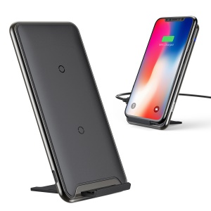 BASEUS Zinc Alloy 10W 3-Coil Qi Quick Charger with Desktop Holder for Samsung S9, iPhone X/8/8 Plus etc. - Black