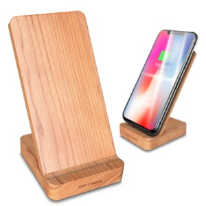 KP-Wood3 7.5W/10W Dual Coil Cherry Wood Qi Wireless Fast Charging Stand for iPhone Samsung etc.