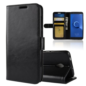 Crazy Horse Wallet Leather Stand Case for Alcatel 1X - Black