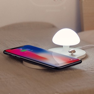 BASEUS Wireless Charger with A Mini Mushroom Night Lamp - White