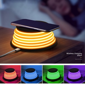 XOOMZ S18 5-color Night Light + Wireless Qi Charging Pad with Stand for iPhone X/8/8 Plus etc. - Black