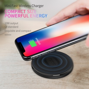 NILLKIN MC029 10W Mini Round Shaped Qi Standard Fast Wireless Charger for iPhone X/8 Plus/8 Etc. - Black