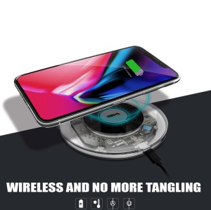 YOGEE YC006 5W/7.5W/10W Transparent Qi Wireless Fast Charger Pad for iPhone Samsung etc.