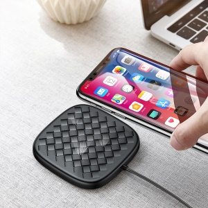 BASEUS BV Woven Texture 10W/7.5W Qi Wireless Charging Pad - Black