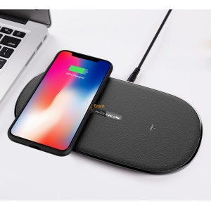 NILLKIN MC031 10W Qi Standard Gemini Dual Wireless Charging Pad for iPhone X/8 Plus/8 Etc. – Black