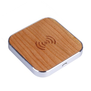 Wooden Qi Wireless Charger Pad Charging Station for Samsung LG Etc - Silver