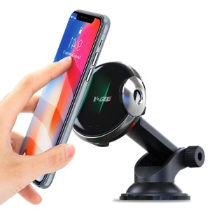 W5F 2-in-1 15W Car Air Vent Qi Wireless Fast Charger Telescopic Suction Cup Stand with Infrared Induction