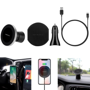 MOMAX Q.Mount 2 Magnetic Fast Wireless Charging Car Mount + Dual USB Port Car Charger Kit (Not Support FOD Function) - Silver