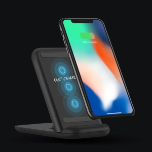 Foldable 3-coil Qi Wireless Fast Charger 10W Charging Stand [Support FOD Function] for iPhone Samsung etc. - Black