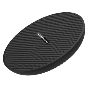 NILLKIN MC035 15W Powerflash Carbon Fiber Round Shaped Qi Standard Fast Wireless Charger for iPhone X/8 Plus/8 etc