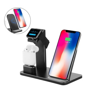 Portable 3-in-1 Qi Wireless Fast Charger for Apple Watch/iPhone/AirPods