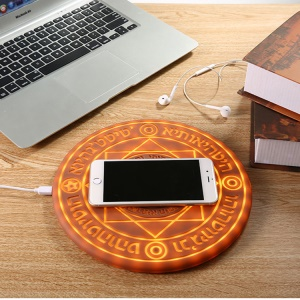 Magic Circle Quick Charging 5W/7.5W/10W Qi Wireless Charger Mat for iPhone Samsung LG etc. - Coffee