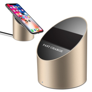 XUENAIR Section Cylinder 10W Fast Qi Wireless Charger with FOD Function for iPhone Samsung etc - Gold