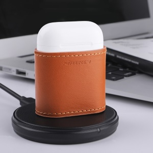 Nillkin for AirPods with Charging Case (2016) Mate Wireless Charging Leather Case (Compatible with Wireless Charger) - Brown