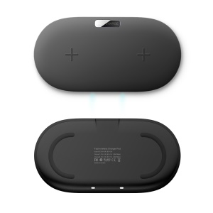 QX910 Qi Wireless Fast Charger [Dual Positions] Support FOD Function for iPhone Samsung Etc. - Black
