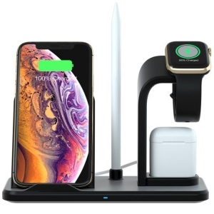 Soporte Cargador Inalámbrico Tres En Uno N35 Para Apple Watch / IPhone / Airpods (no Es Compatible Con La Función FOD) - Negro