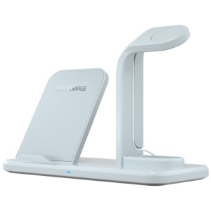 N35 Three-in-one Wireless Charger Stand for Apple Watch/iPhone/AirPods (Not Support FOD Function) - White