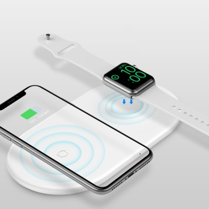 BASEUS BSWC-P20 2 in 1 Wireless Charger Charging Base Magnetic Absorption (Support FOD Function) for Apple Watch and iPhone - White