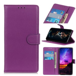 Litchi Skin Wallet Leather Stand Case for ALCATEL 3 (2019) / ALCATEL 3L (2019) - Purple