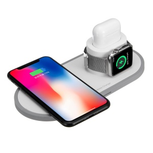 10W Wireless Charger for iPhone/Samsung/Apple Watch/Airpods (Not Support FOD Function) - White