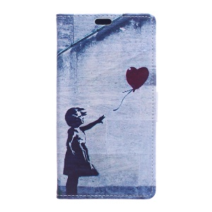 Leather Stand Case with Card Slots for Alcatel One Touch Pixi First - Cute Girl Flying Heart Shaped Balloon