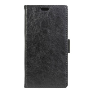 Crazy Horse Leather Stand Case for Alcatel One Touch Pixi First - Black