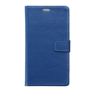 Litchi Grain Genuine Leather Card Holder Case for Alcatel One Touch Pixi First - Blue