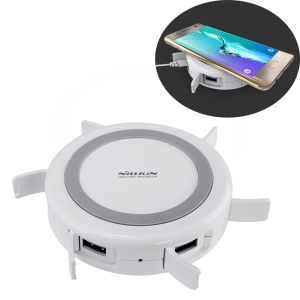 NILLKIN Hermit Multifunctional Wireless Qi Charger + 4-port USB Hub - US Plug