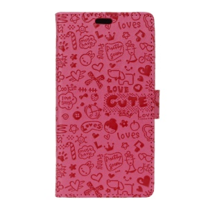 Cartoon Graffiti Leather Wallet Shell Cover for Alcatel OneTouch Pixi 4 (4) - Rose