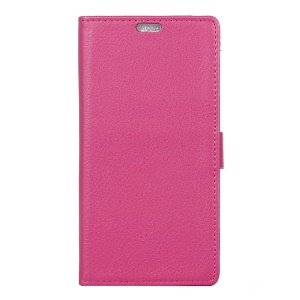 Litchi Grain Leather Cover Card Holder for Alcatel OneTouch Idol 4 - Rose