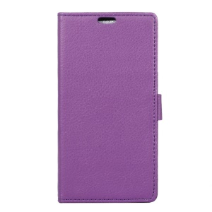 Litchi Grain Leather Case with Stand Card Slots for Alcatel OneTouch Idol 4 - Purple