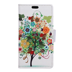 Patterned Wallet Leather Phone Cover for Alcatel OneTouch Idol 4 - Fruit Tree